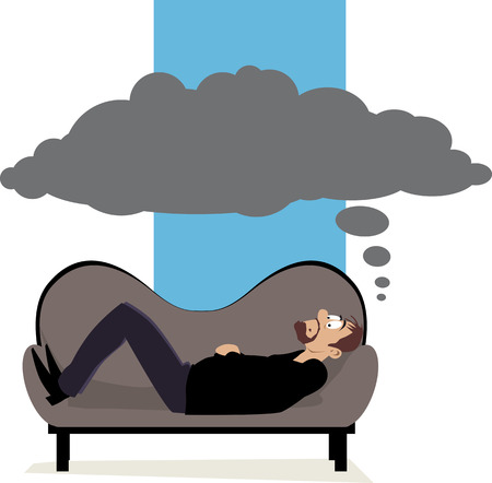 Man lying on a psychiatrists couch having a dark cloud of thoughts above his head,  vector illustration