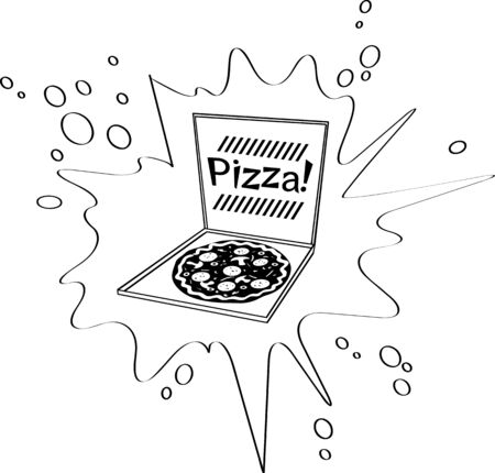 Pizza in a box vector clip-art, no white objects, black only Ilustrace