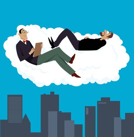 Psychiatrist having a therapy session with his patient on a cloud above a city, vector illustration