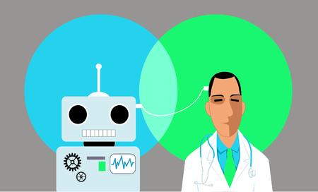 의사와 로봇 와이어, 벡터 일러스트와 연결