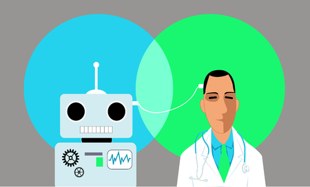 Doctor and robot connected with a wire, vector illustration Çizim