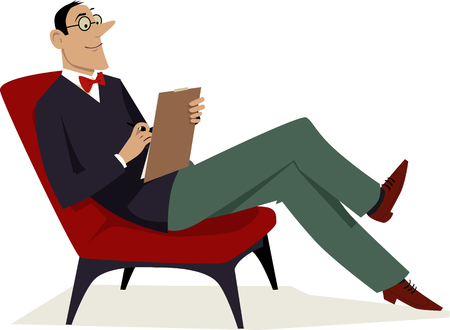 Psychoanalyst sitting in a chair with a notepad, vector illustration