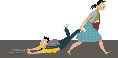 Mother dragging an anxious kid to school, EPS 8 vector illustration Illustration