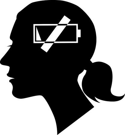Profil féminin avec un symbole petit à genoux comme métaphore pour une fatigue ou un épuisement, vecteur EPS 8, pas d'objets blancs, noir seulement Vecteurs