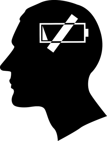 Male profile with a buttery low symbol as a metaphor for a fatigue or a burnout, EPS 8 vector, no white objects, black only