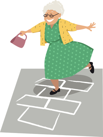 Elderly woman playing hopscotch, EPS 8 vector illustration Illustration