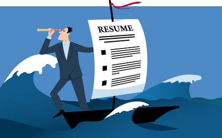 Man travelling on a boat with a sail made of a resume as a metaphor for a job search, EPS 8 vector illustration
