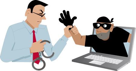 サイバー セキュリティの専門家のラップトップ、EPS 8 ベクトル図から出てくる泥棒をキャッチ