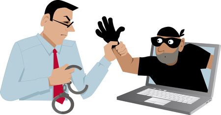 Cyber security specialist catching a thief coming out of a laptop, EPS 8 vector illustration Фото со стока - 81166192