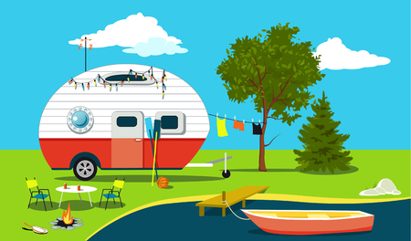 Cartoon fishing trip scene with a vintage camper, a boat, a fire pit, camping table and laundry line, EPS 8 vector illustration, no transparencies Çizim