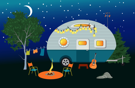 Cartoon travelling night scene with a vintage camper, a fire pit, camping table and laundry line, EPS 8 vector illustration, no transparencies