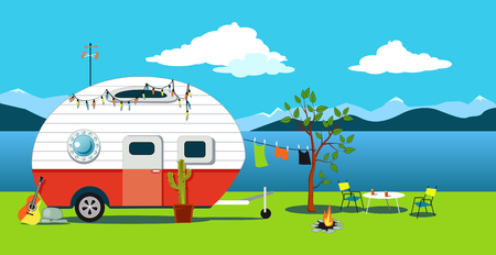 Cartoon travelling scene with a vintage camper, a fire pit, camping table and laundry line, EPS 8 vector illustration, no transparencies Çizim