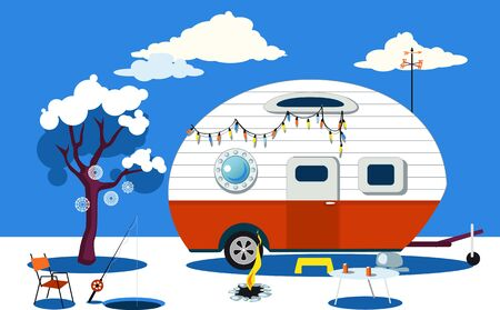 Winter travelling scene with a vintage camper, a fire pit, fishing hole and camping table, EPS 8 vector illustration, no transparencies