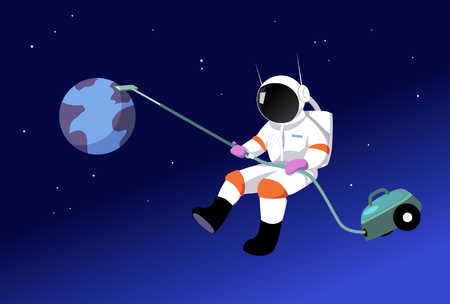Astronaut vacuuming Earth as a metaphor for an environmental consciousness, EPS 8 vector illustration