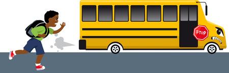 Weinig zwarte jongen die een knorrig schoolbus probeert te vangen, EPS 8 vectorillustratie
