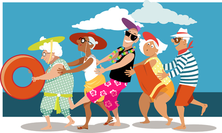 Group of active seniors dancing a conga line dance on the beach, EPS 8 vector illustration