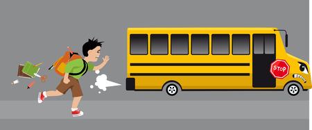 Little boy running after a school bus, losing school supplies, EPS 8 vector illustration