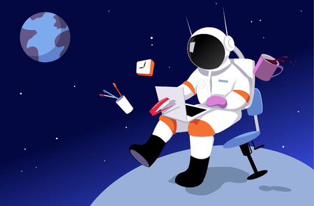 An astronaut working in on a laptop in zero gravity, surrounded by office tool, away from Earth as a metaphor for a remote job