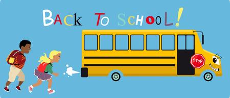 小学校低学年少年と少女の上に学校のバス、学校にテキストを追いかけて