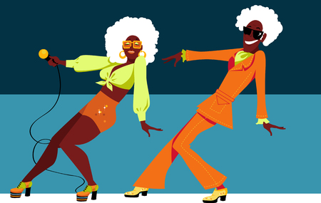 Mature black couple dressed in 1970th fashion dancing a novelty dance, EPS 8 vector illustration