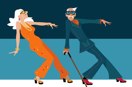 Reife Paare kleideten in 1970th Mode an, die einen Neuheitstanz tanzt.