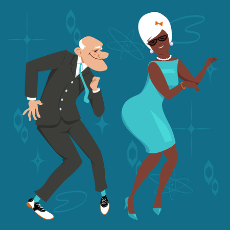 Mature couple dressed in 1960th fashion dancing the Twist. Stock Vector - 84131408