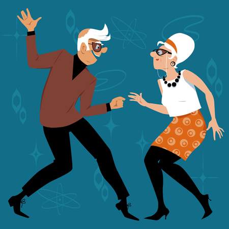 Mature couple dressed in 1960th fashion dancing the Twist, EPS 8 vector illustration Çizim