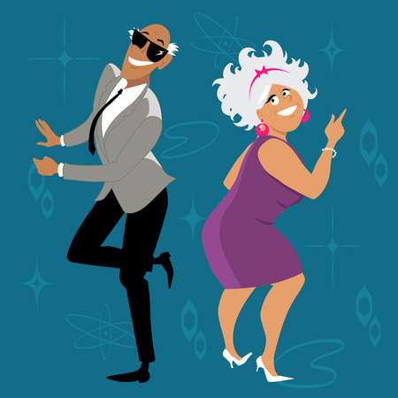 Mature couple dressed in 1960th fashion dancing the Twist, EPS 8 vector illustration Vettoriali