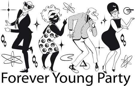 Group of active seniors dressed in 1960th fashion dancing at a Retro Dance Party, EPS 8 vector line art, no white objects, black only