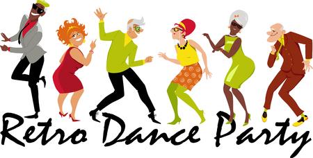 Gruppe aktive Senioren kleidete in 1950th - 1960th Modetanzen an einer Retro- Tanzparty an. Standard-Bild - 84131409