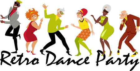 Group of active seniors dressed in 1950th - 1960th fashion dancing at a Retro Dance Party. Illustration