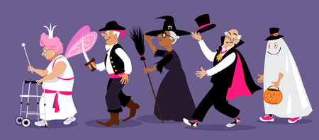 Group of active seniors dressed in Halloween costume, EPS 8 vector illustration