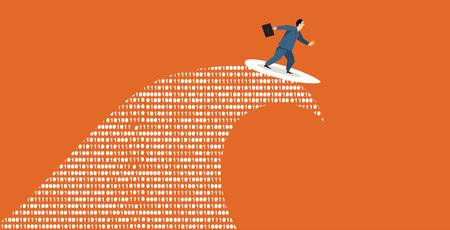 Businessman surfing a tsunami wave of computer data, EPS 8 vector illustration.