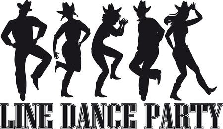 カントリー ウエスタン ライン ダンス パーティー シルエット バナー。