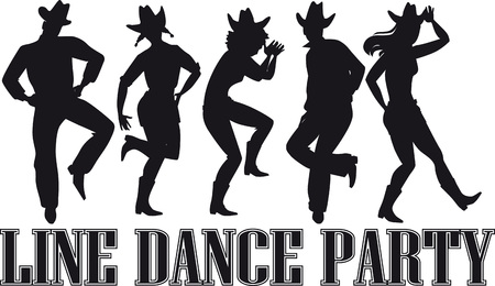 Country-western line dance party silhouette banner.
