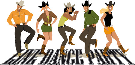 Group of people in western country clothes dancing line dance illustration. Çizim