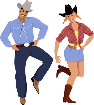 Couple dressed in traditional country western clothes dancing line dance