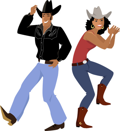Couple dressed in traditional country western clothes dancing line dance illustration.