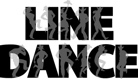 Country-western line dance party banner with silhouettes of cowboys and cowgirls.