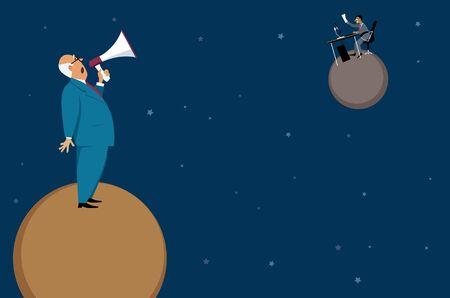 Gestionnaire tentant de communiquer avec un employé à distance, assis sur une autre planète, crier dans une illustration de bullhorn. Banque d'images - 84228973