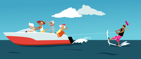 Group of active seniors riding a motorboat and water skiing, EPS 8 vector illustration Illustration