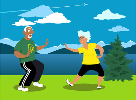Senior couple practicing tai chi outside in a park, EPS 8 vector illustration