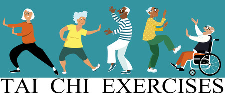 Diverse group of senior citizens doing tai chi exercise, EPS 8 vector illustration