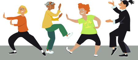 Diverse group of mature women doing tai chi exercises with an instructor, EPS 8 vector illustration