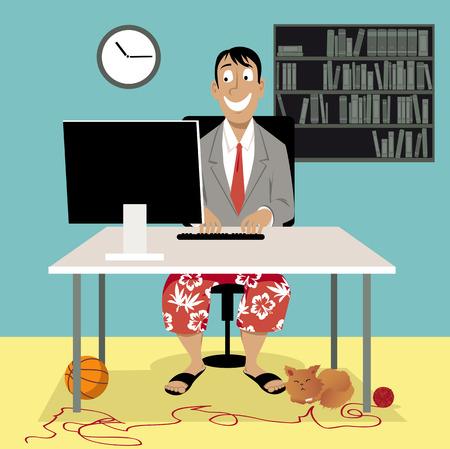 Homme dans un manteau de costume d'affaires et un short de bain assis devant un ordinateur, ayant un entretien d'emploi vidéo ou travaillant de la maison, illustration vectorielle EPS 8 Banque d'images - 84660954