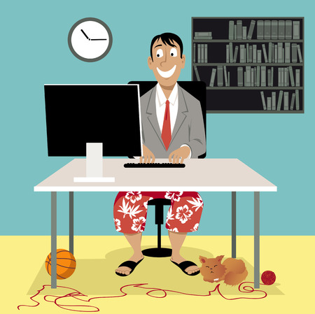 Man in a business suit coat and swim shorts sitting in front of a computer, having a video job interview or working from home, EPS 8 vector illustration