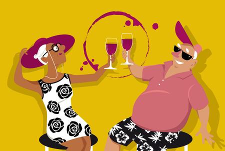 Senior couple enjoying wine at wine tasting or at happy hour, EPS 8 vector illustration Illustration