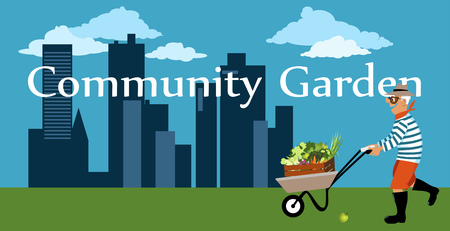 Senior man with a gardening wheelbarrow bringing produce from a community garden, city skyline on the background, copy space at the bottom, EPS 8 vector illustration