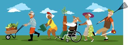 Diverse groep actieve senioren met tuingereedschap, potten, planten en produceren, EPS 8 vectorillustratie, geen transparanten