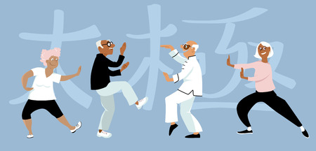 Diverse group of senior citizens doing taichi exercise, word tai chi written in Chinese on the background, EPS 8 vector illustration Çizim